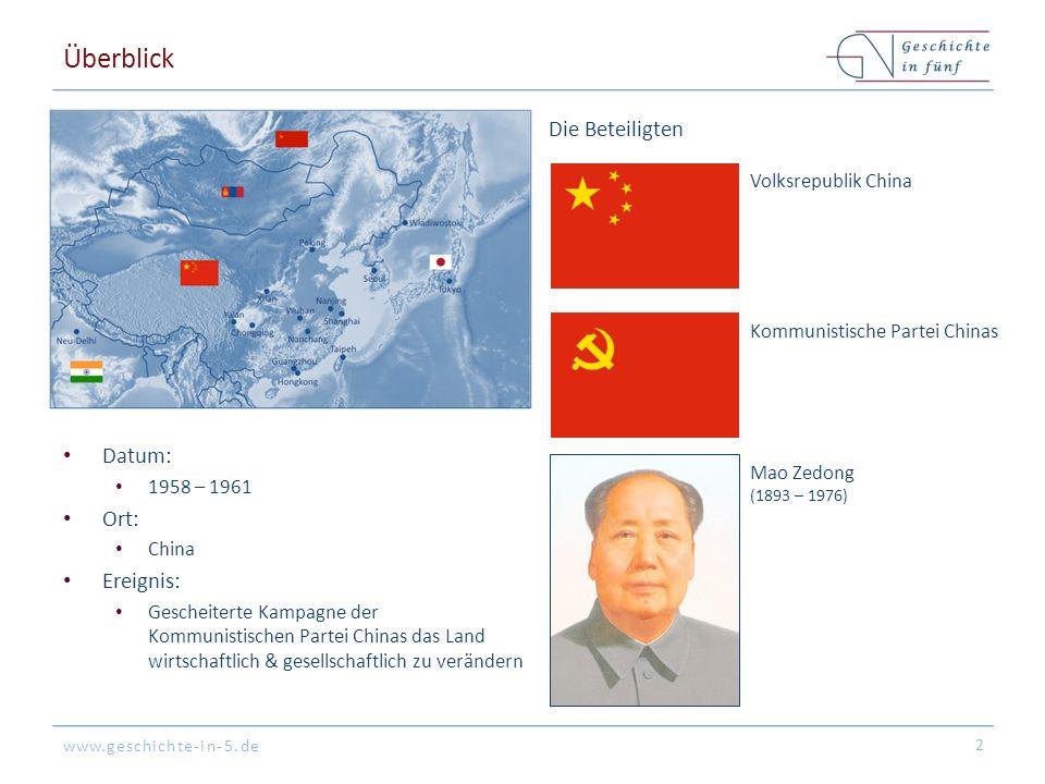 www.geschichte-in-5.de Überblick Datum: 1958 – 1961 Ort: China Ereignis: Gescheiterte Kampagne der Kommunistischen Partei Chinas das Land wirtschaftlich & gesellschaftlich zu verändern 2 Die Beteiligten Mao Zedong (1893 – 1976) Volksrepublik China Kommunistische Partei Chinas