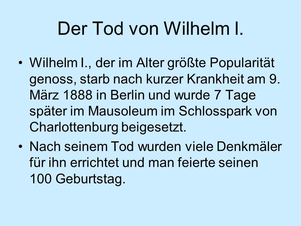 Der Tod von Wilhelm I.
