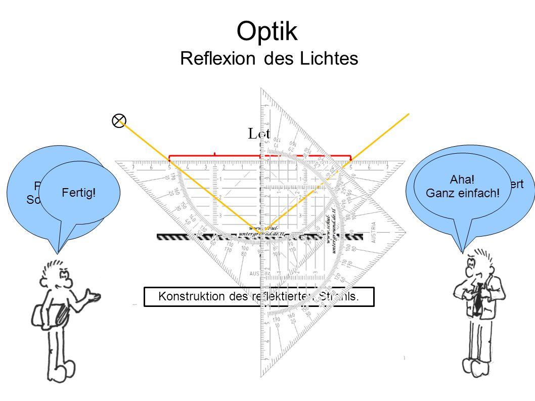 Aber wie konstruiert man das nun.Pass auf. So geht's … Optik Reflexion des Lichtes Fertig.