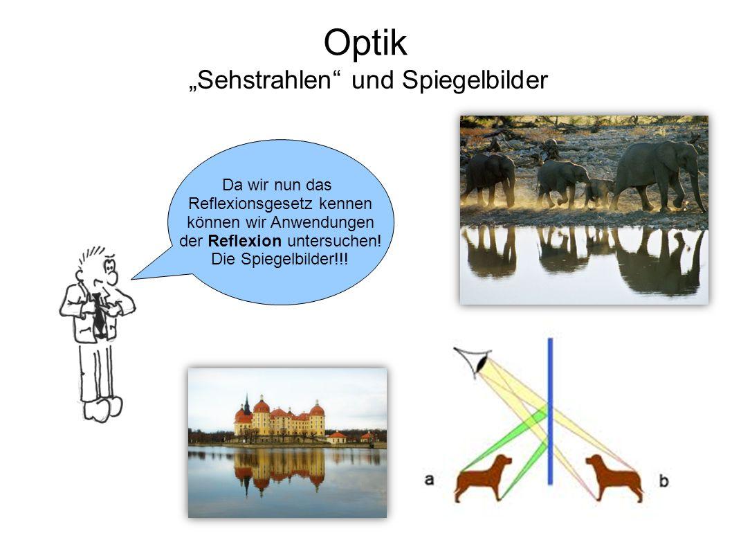 """Optik """"Sehstrahlen und Spiegelbilder Als Sehstrahlen bezeichnen wir Lichtstrahlen, die von beleuchteten Gegenständen in unser Auge reflektiert werden – nur deshalb können wir beleuchtete Gegenstände sehen."""