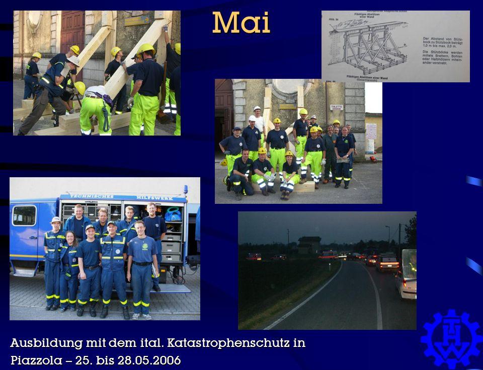 Mai Ausbildung mit dem ital. Katastrophenschutz in Piazzola – 25. bis 28.05.2006