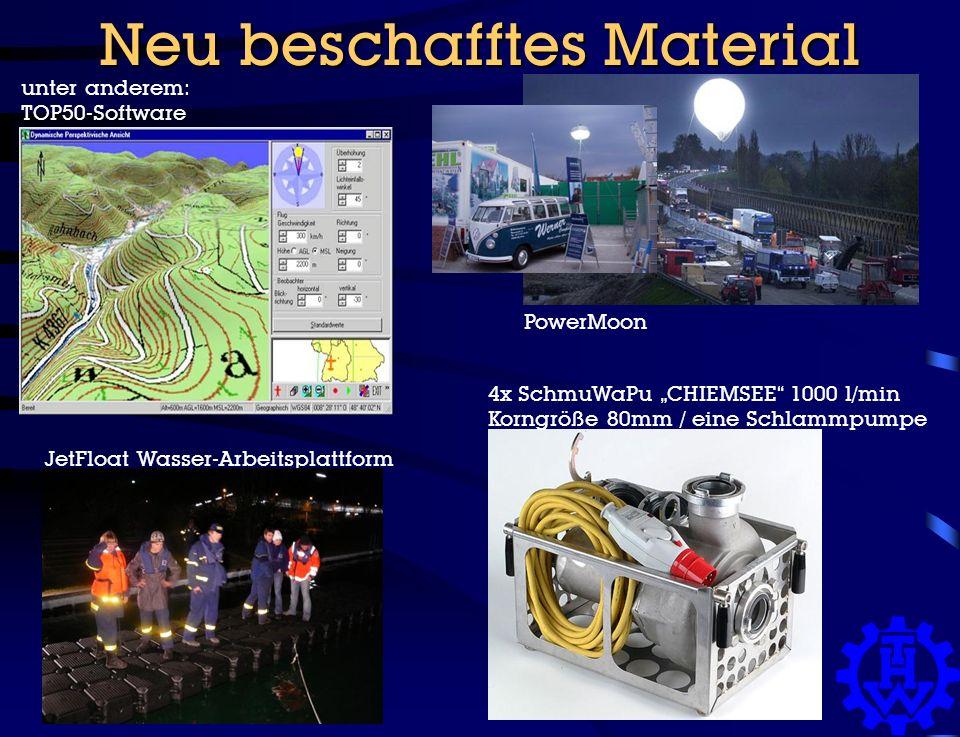 "Neu beschafftes Material unter anderem: TOP50-Software PowerMoon 4x SchmuWaPu ""CHIEMSEE 1000 l/min Korngröße 80mm / eine Schlammpumpe JetFloat Wasser-Arbeitsplattform"