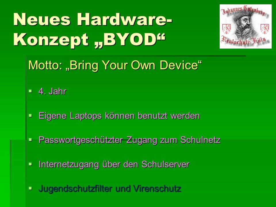 """Neues Hardware- Konzept """"BYOD"""" Motto: """"Bring Your Own Device""""  4. Jahr  Eigene Laptops können benutzt werden  Passwortgeschützter Zugang zum Schuln"""