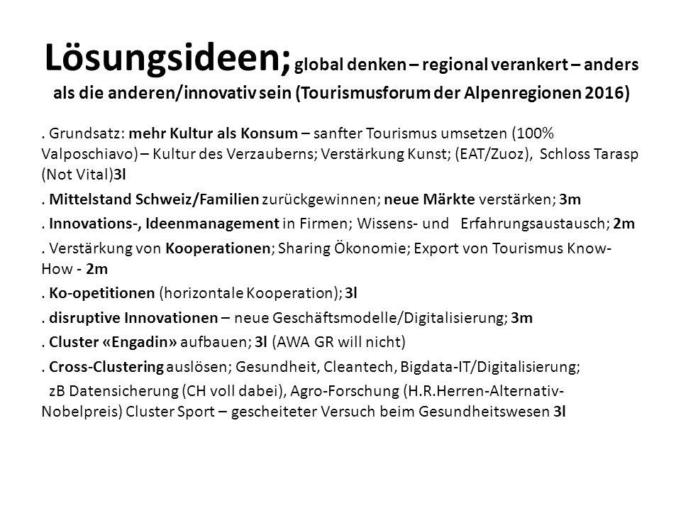 Lösungsideen; global denken – regional verankert – anders als die anderen/innovativ sein (Tourismusforum der Alpenregionen 2016).