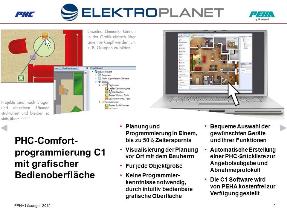 PEHA Lösungen 20122 PHC-Comfort- programmierung C1 mit grafischer Bedienoberfläche Bequeme Auswahl der gewünschten Geräte und ihrer Funktionen Automat