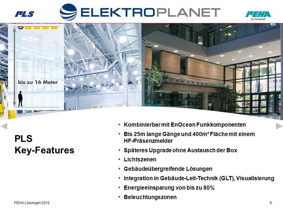 PEHA Lösungen 20128 PLS Key-Features Kombinierbar mit EnOcean Funkkomponenten Bis 25m lange Gänge und 400m² Fläche mit einem HF-Präsenzmelder Späteres Upgrade ohne Austausch der Box Lichtszenen Gebäudeübergreifende Lösungen Integration in Gebäude-Leit-Technik (GLT), Visualisierung Energieeinsparung von bis zu 80% Beleuchtungszonen