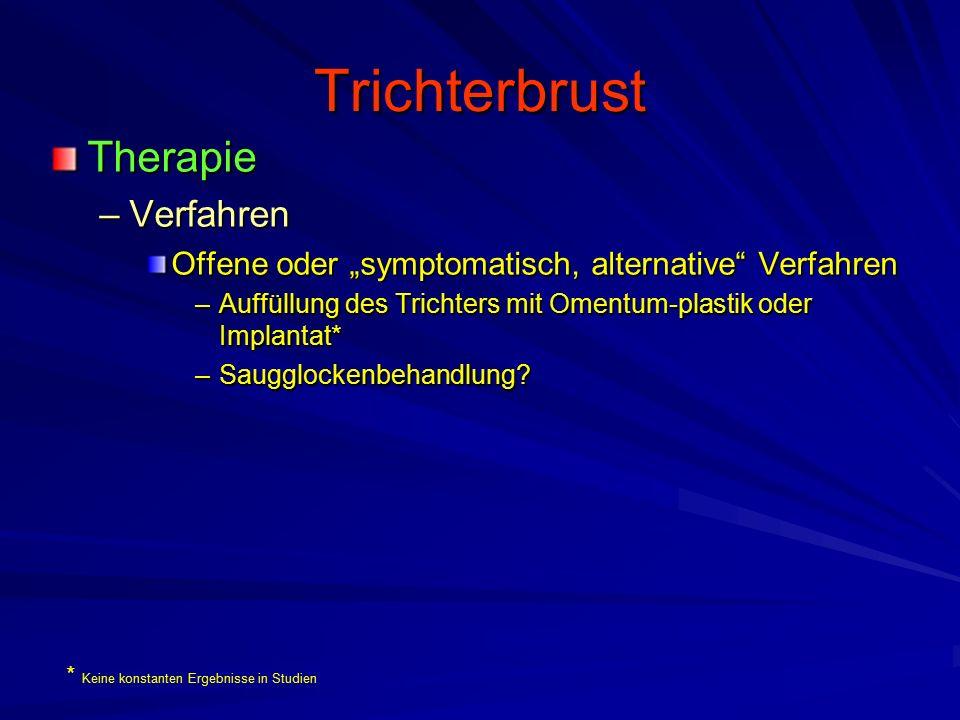 """Trichterbrust Therapie –Verfahren Offene oder """"symptomatisch, alternative Verfahren –Auffüllung des Trichters mit Omentum-plastik oder Implantat* –Saugglockenbehandlung."""