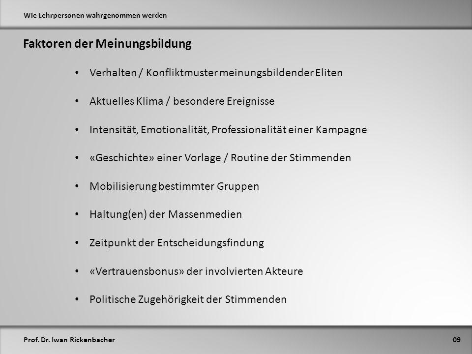 Prof. Dr. Iwan Rickenbacher Wie Lehrpersonen wahrgenommen werden Faktoren der Meinungsbildung 09 Verhalten / Konfliktmuster meinungsbildender Eliten A