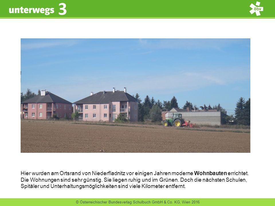 © Österreichischer Bundesverlag Schulbuch GmbH & Co. KG, Wien 2016 3 Hier wurden am Ortsrand von Niederfladnitz vor einigen Jahren moderne Wohnbauten