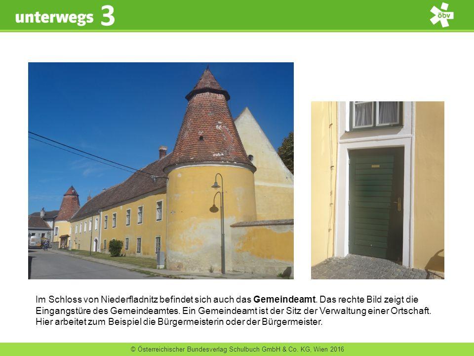 © Österreichischer Bundesverlag Schulbuch GmbH & Co. KG, Wien 2016 3 Im Schloss von Niederfladnitz befindet sich auch das Gemeindeamt. Das rechte Bild
