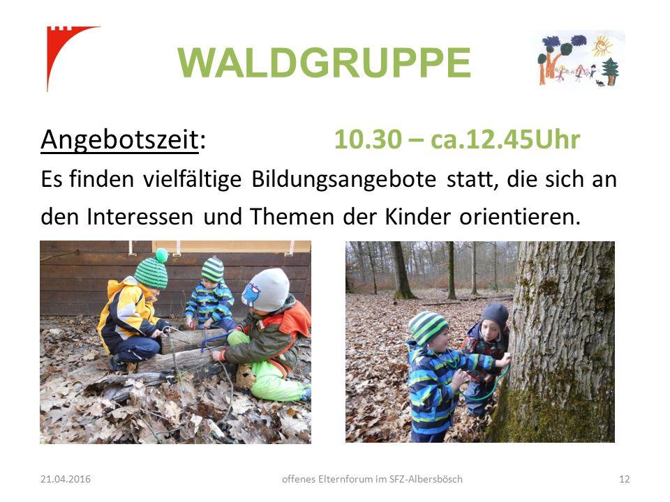 WALDGRUPPE Angebotszeit: 10.30 – ca.12.45Uhr Es finden vielfältige Bildungsangebote statt, die sich an den Interessen und Themen der Kinder orientieren.