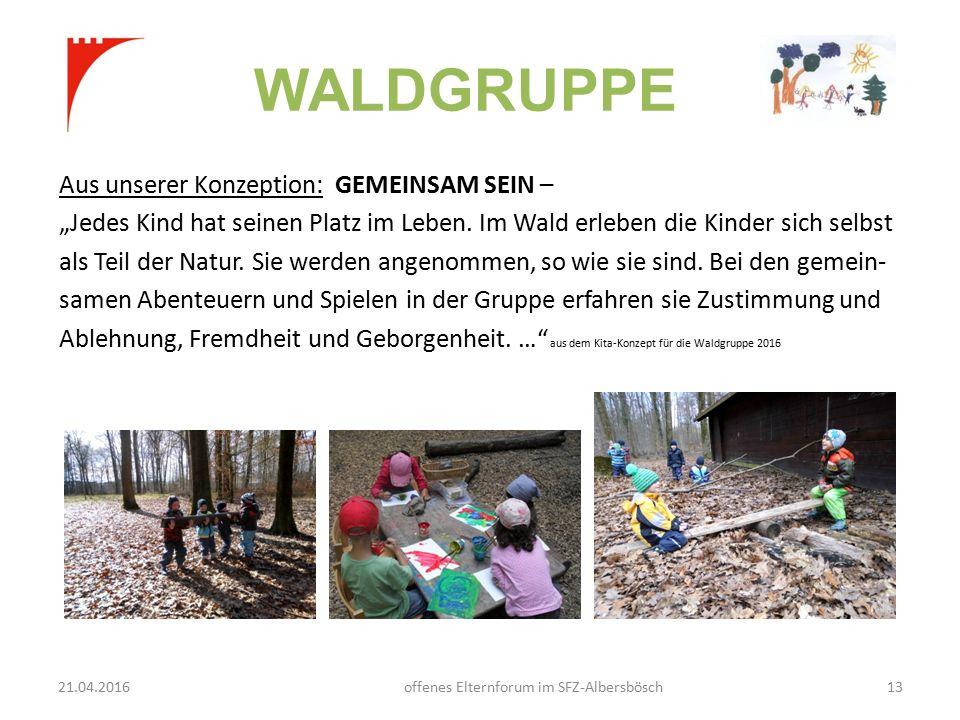 """WALDGRUPPE Aus unserer Konzeption: GEMEINSAM SEIN – """"Jedes Kind hat seinen Platz im Leben."""