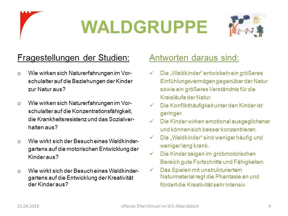 WALDGRUPPE Fragestellungen der Studien: o Wie wirken sich Naturerfahrungen im Vor- schulalter auf die Beziehungen der Kinder zur Natur aus.