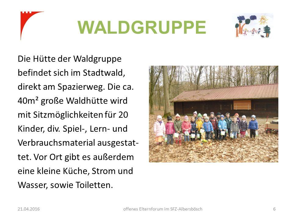 WALDGRUPPE Die Hütte der Waldgruppe befindet sich im Stadtwald, direkt am Spazierweg.