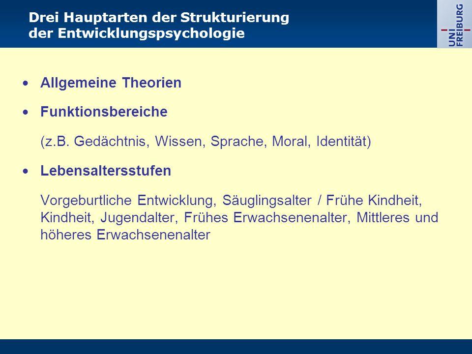  Allgemeine Theorien  Funktionsbereiche (z.B. Gedächtnis, Wissen, Sprache, Moral, Identität)  Lebensaltersstufen Vorgeburtliche Entwicklung, Säugli