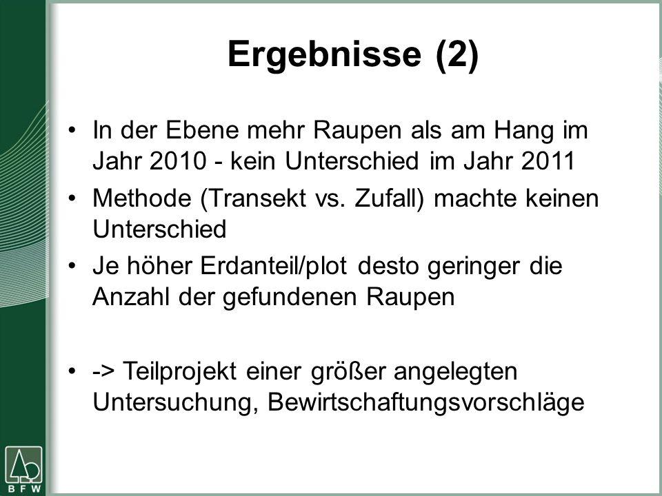 Ergebnisse (2) In der Ebene mehr Raupen als am Hang im Jahr 2010 - kein Unterschied im Jahr 2011 Methode (Transekt vs. Zufall) machte keinen Unterschi