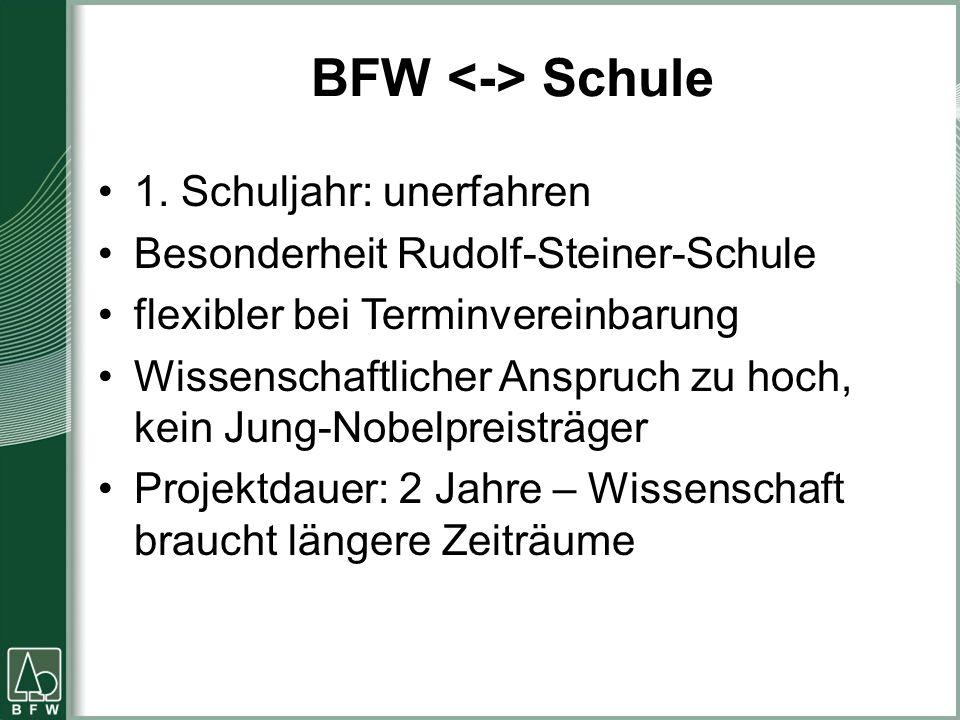 BFW Schule 1. Schuljahr: unerfahren Besonderheit Rudolf-Steiner-Schule flexibler bei Terminvereinbarung Wissenschaftlicher Anspruch zu hoch, kein Jung