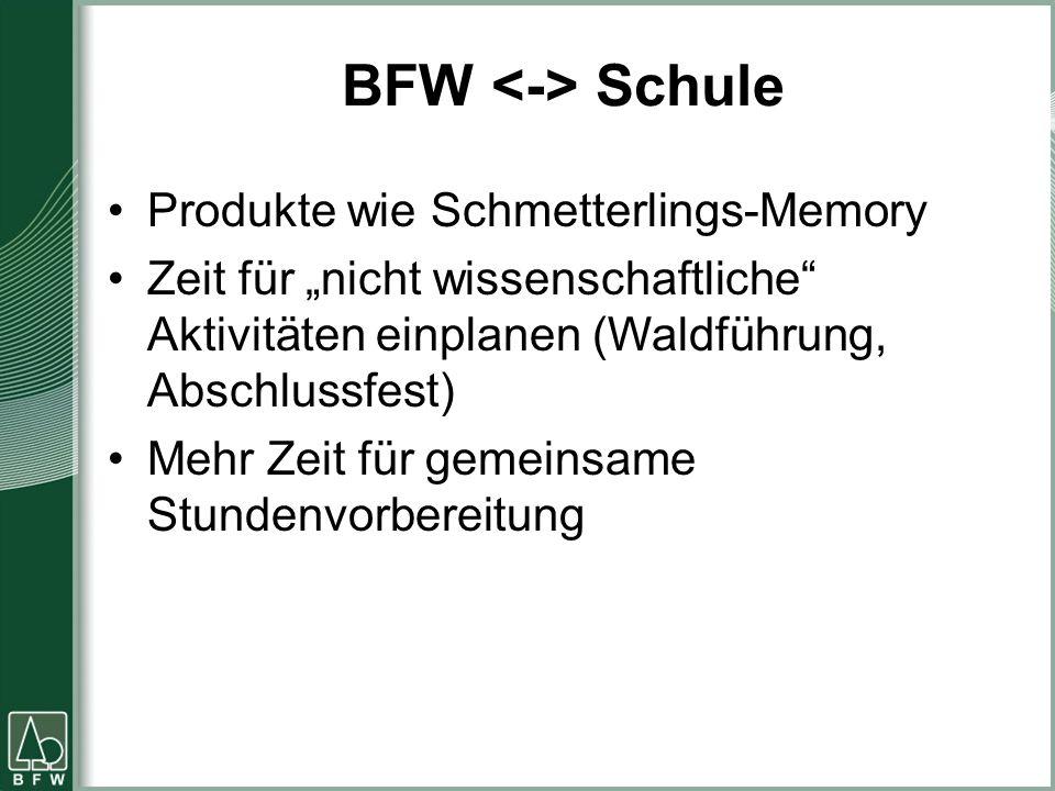 """BFW Schule Produkte wie Schmetterlings-Memory Zeit für """"nicht wissenschaftliche Aktivitäten einplanen (Waldführung, Abschlussfest) Mehr Zeit für gemeinsame Stundenvorbereitung"""