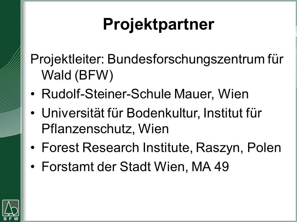 Projektpartner Projektleiter: Bundesforschungszentrum für Wald (BFW) Rudolf-Steiner-Schule Mauer, Wien Universität für Bodenkultur, Institut für Pflan