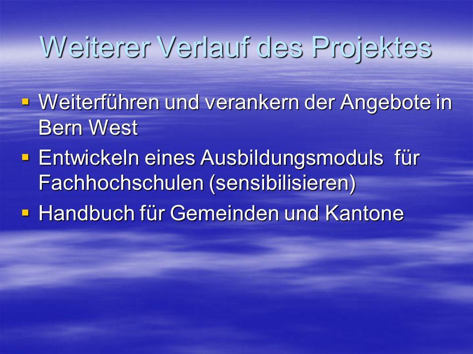 Weiterer Verlauf des Projektes  Weiterführen und verankern der Angebote in Bern West  Entwickeln eines Ausbildungsmoduls für Fachhochschulen (sensibilisieren)  Handbuch für Gemeinden und Kantone