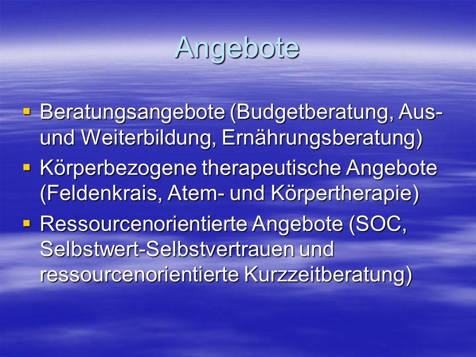Angebote  Beratungsangebote (Budgetberatung, Aus- und Weiterbildung, Ernährungsberatung)  Körperbezogene therapeutische Angebote (Feldenkrais, Atem- und Körpertherapie)  Ressourcenorientierte Angebote (SOC, Selbstwert-Selbstvertrauen und ressourcenorientierte Kurzzeitberatung)