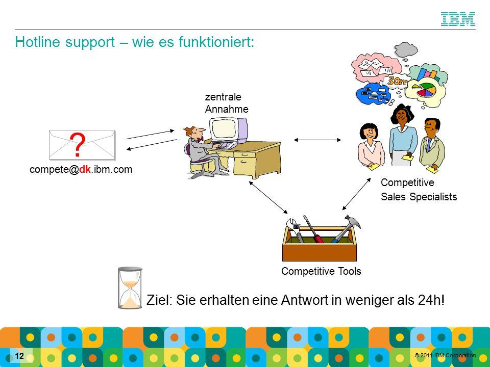 © 2011 IBM Corporation 12 compete@dk.ibm.com Competitive Tools Ziel: Sie erhalten eine Antwort in weniger als 24h.