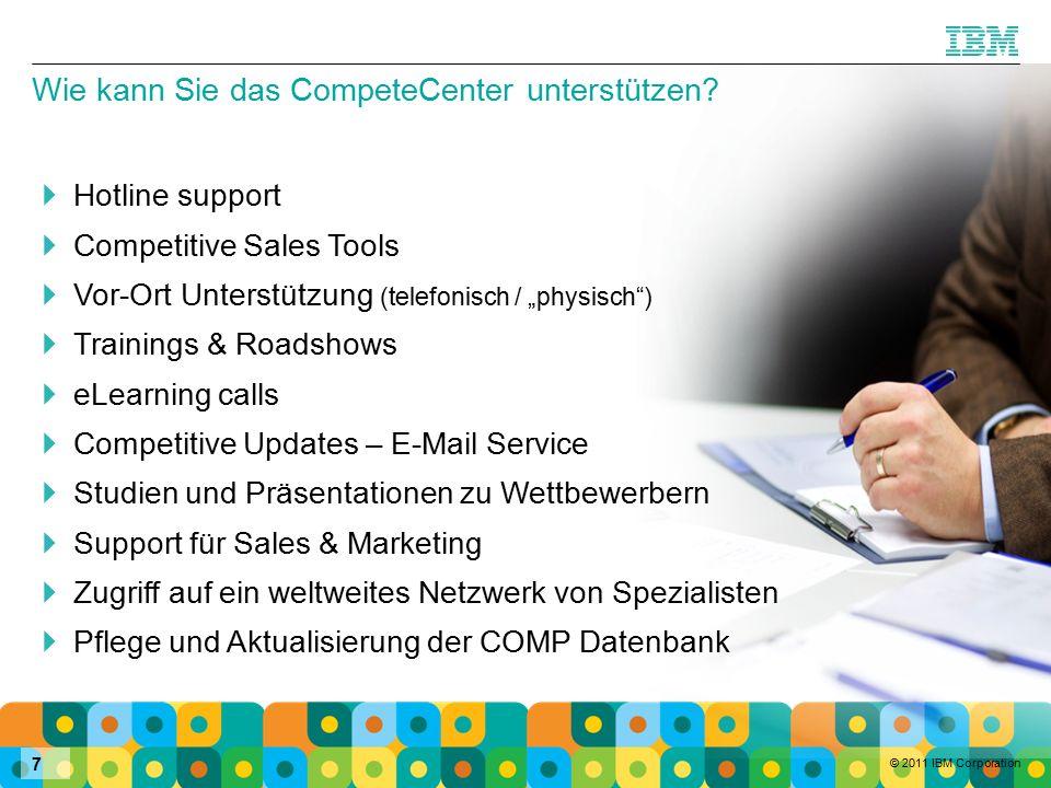 © 2011 IBM Corporation 7 Wie kann Sie das CompeteCenter unterstützen.