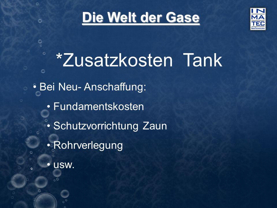 Die Welt der Gase *Zusatzkosten Tank Bei Neu- Anschaffung: Fundamentskosten Schutzvorrichtung Zaun Rohrverlegung usw.