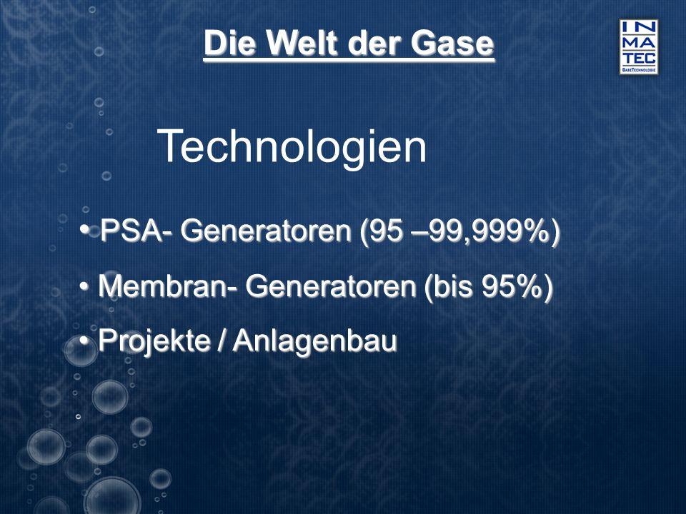 Die Welt der Gase Technologien PSA- Generatoren (95 –99,999%) PSA- Generatoren (95 –99,999%) Membran- Generatoren (bis 95%) Membran- Generatoren (bis