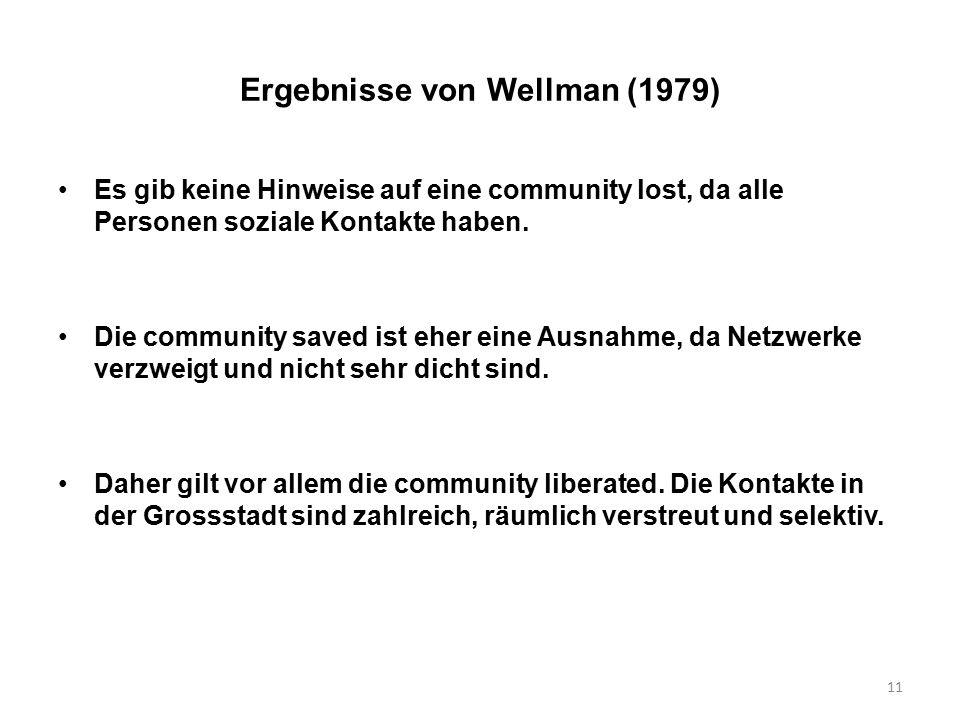 11 Ergebnisse von Wellman (1979) Es gib keine Hinweise auf eine community lost, da alle Personen soziale Kontakte haben. Die community saved ist eher