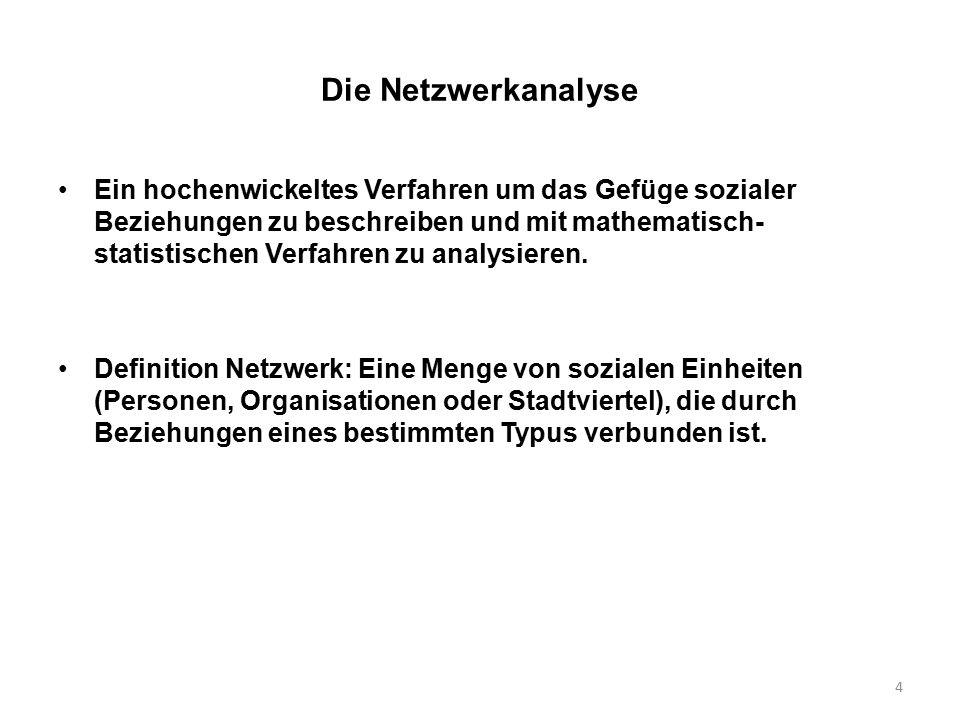 4 Die Netzwerkanalyse Ein hochenwickeltes Verfahren um das Gefüge sozialer Beziehungen zu beschreiben und mit mathematisch- statistischen Verfahren zu analysieren.