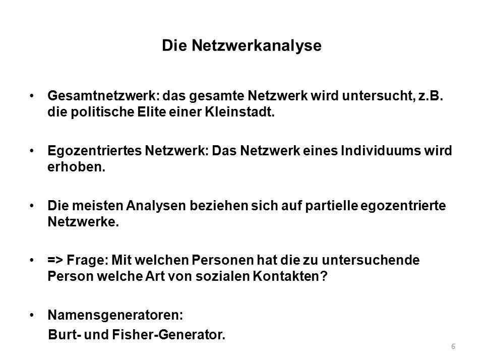 6 Die Netzwerkanalyse Gesamtnetzwerk: das gesamte Netzwerk wird untersucht, z.B. die politische Elite einer Kleinstadt. Egozentriertes Netzwerk: Das N