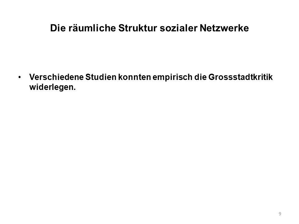 9 Die räumliche Struktur sozialer Netzwerke Verschiedene Studien konnten empirisch die Grossstadtkritik widerlegen.
