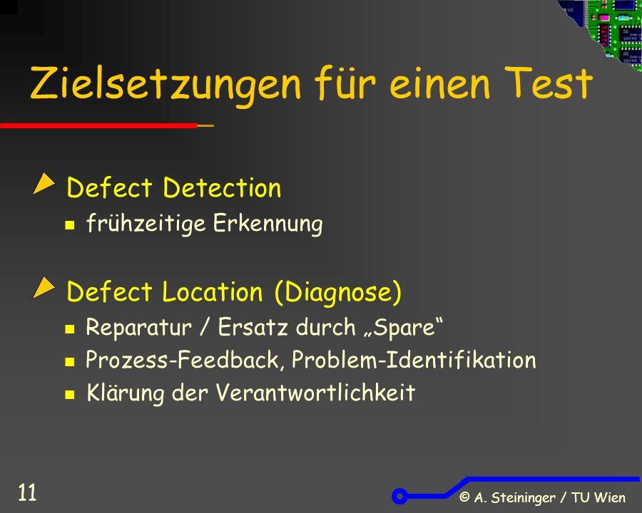 """© A. Steininger / TU Wien 11 Zielsetzungen für einen Test Defect Detection frühzeitige Erkennung Defect Location (Diagnose) Reparatur / Ersatz durch """""""