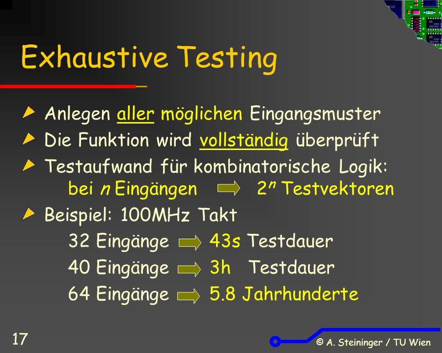 © A. Steininger / TU Wien 17 Exhaustive Testing Anlegen aller möglichen Eingangsmuster Die Funktion wird vollständig überprüft Testaufwand für kombina