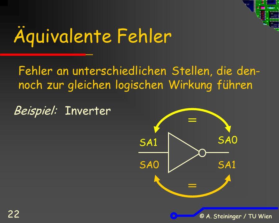 © A. Steininger / TU Wien 22 Äquivalente Fehler Beispiel: Inverter SA1 SA0 Fehler an unterschiedlichen Stellen, die den- noch zur gleichen logischen W