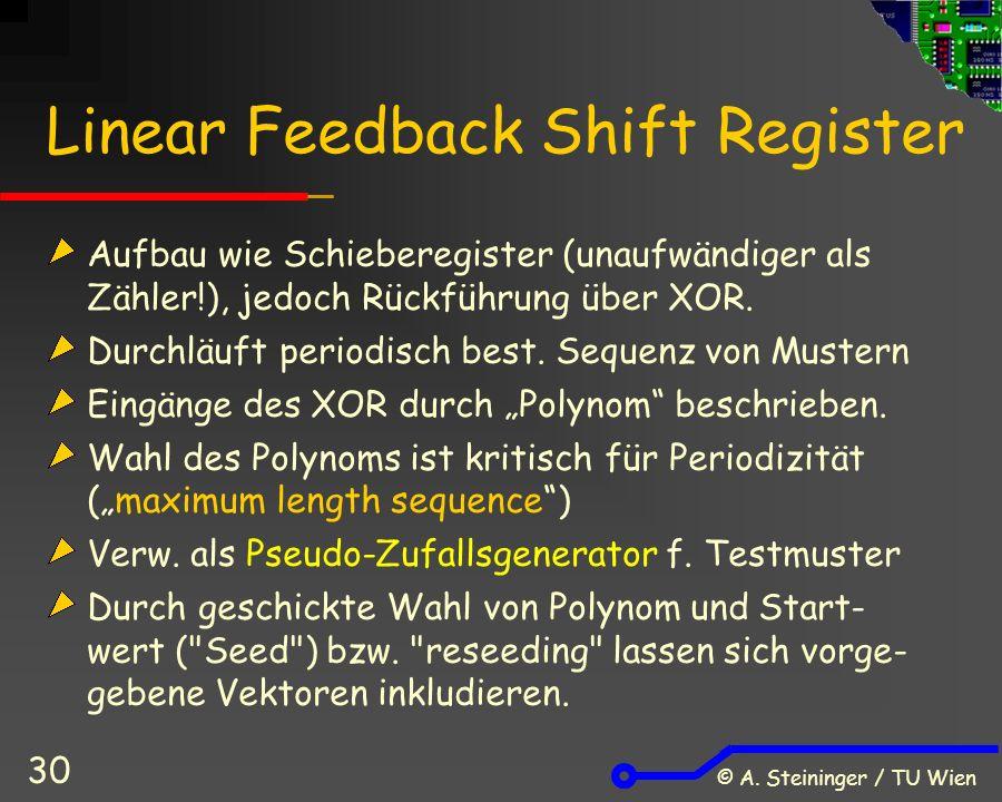 © A. Steininger / TU Wien 30 Linear Feedback Shift Register Aufbau wie Schieberegister (unaufwändiger als Zähler!), jedoch Rückführung über XOR. Durch