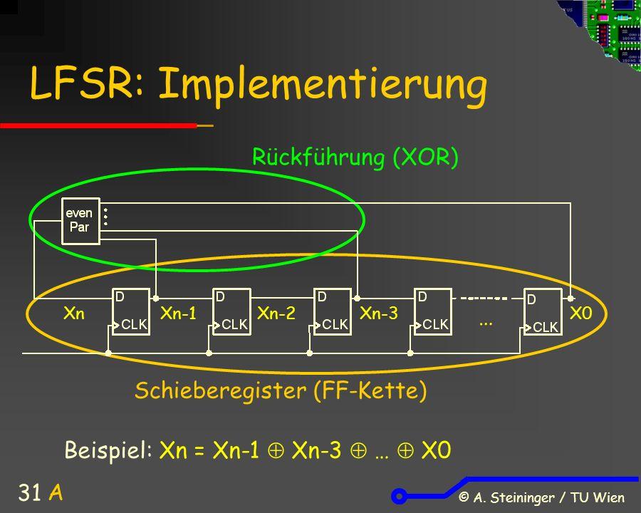 © A. Steininger / TU Wien 31 LFSR: Implementierung Schieberegister (FF-Kette) Rückführung (XOR) Xn Xn-1 Xn-2Xn-3X0 Beispiel: Xn = Xn-1  Xn-3  …  X0