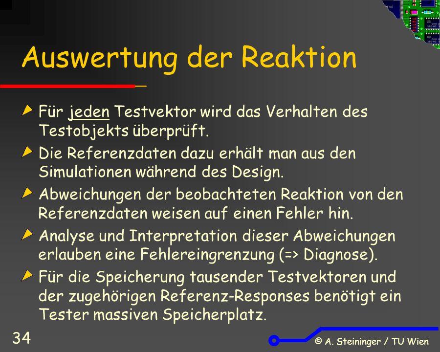 © A. Steininger / TU Wien 34 Auswertung der Reaktion Für jeden Testvektor wird das Verhalten des Testobjekts überprüft. Die Referenzdaten dazu erhält