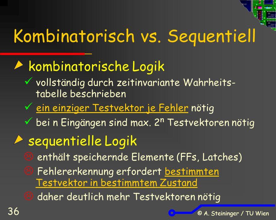 © A. Steininger / TU Wien 36 Kombinatorisch vs.