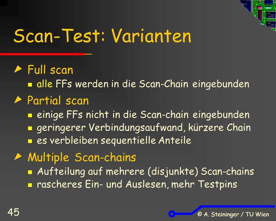 © A. Steininger / TU Wien 45 Scan-Test: Varianten Full scan alle FFs werden in die Scan-Chain eingebunden Partial scan einige FFs nicht in die Scan-ch