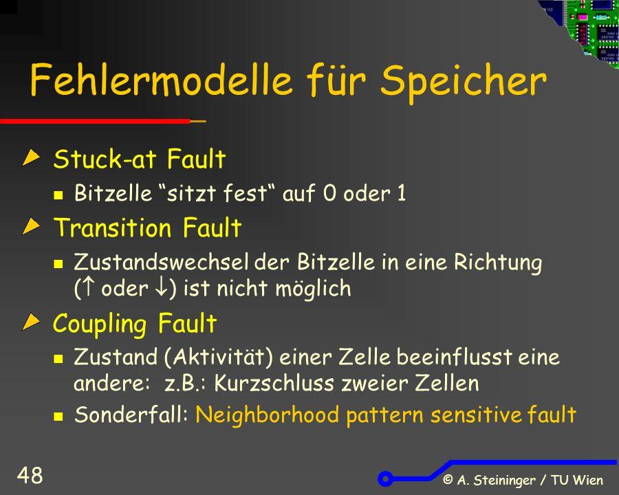 """© A. Steininger / TU Wien 48 Fehlermodelle für Speicher Stuck-at Fault Bitzelle """"sitzt fest"""" auf 0 oder 1 Transition Fault Zustandswechsel der Bitzell"""
