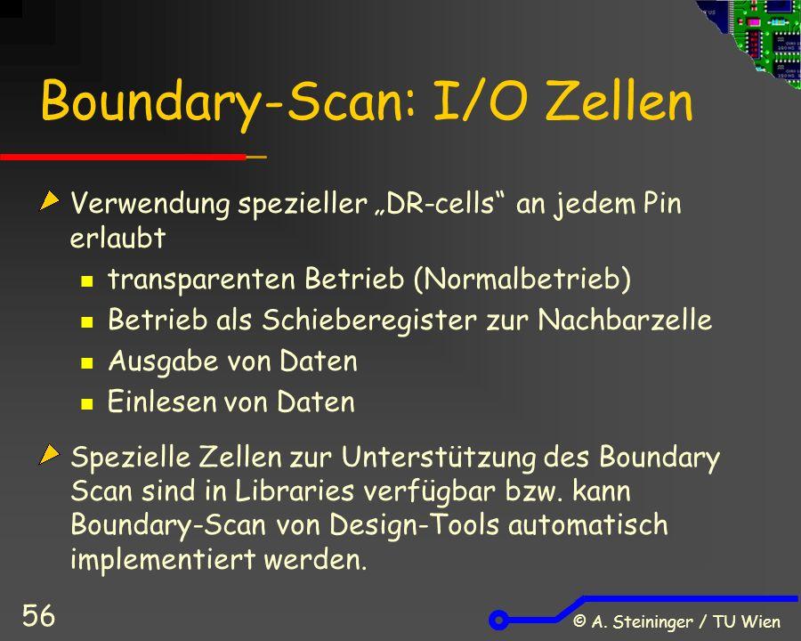 """© A. Steininger / TU Wien 56 Boundary-Scan: I/O Zellen Verwendung spezieller """"DR-cells"""" an jedem Pin erlaubt transparenten Betrieb (Normalbetrieb) Bet"""