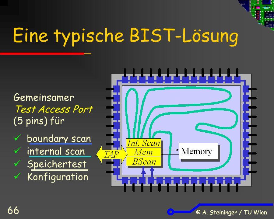 © A. Steininger / TU Wien 66 Eine typische BIST-Lösung Gemeinsamer Test Access Port (5 pins) für boundary scan internal scan Speichertest Konfiguratio