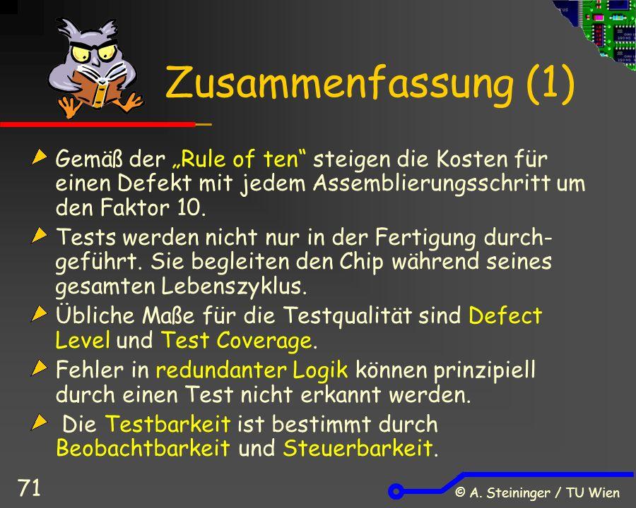 """© A. Steininger / TU Wien 71 Zusammenfassung (1) Gemäß der """"Rule of ten"""" steigen die Kosten für einen Defekt mit jedem Assemblierungsschritt um den Fa"""