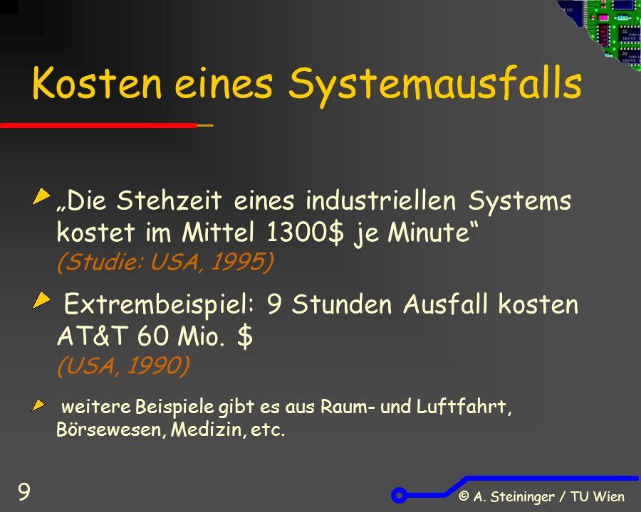 """© A. Steininger / TU Wien 9 Kosten eines Systemausfalls """"Die Stehzeit eines industriellen Systems kostet im Mittel 1300$ je Minute"""" (Studie: USA, 1995"""