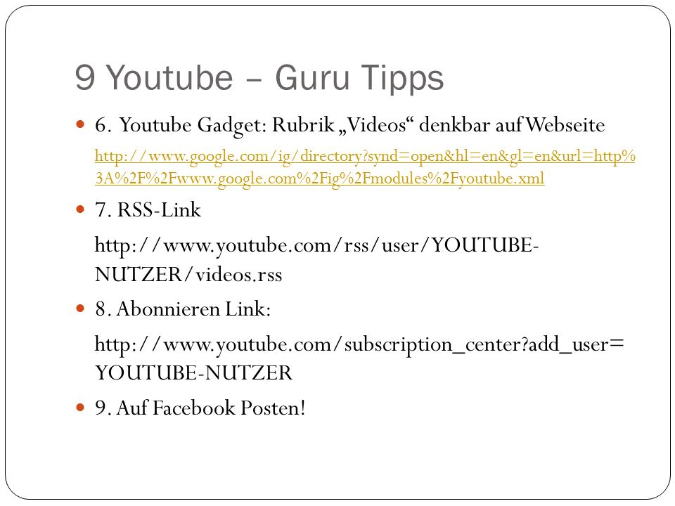9 Youtube – Guru Tipps 6.