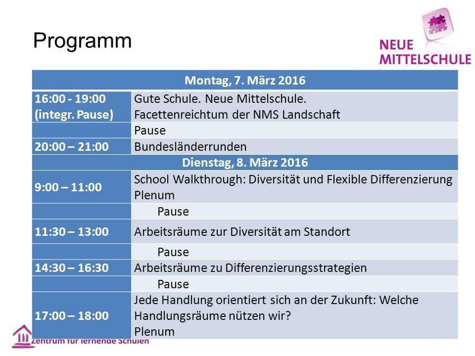 Programm Montag, 7. März 2016 16:00 - 19:00 (integr.