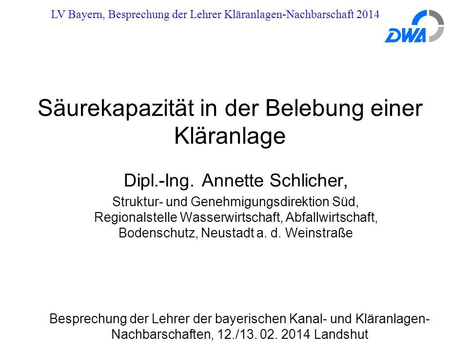 LV Bayern, Besprechung der Lehrer Kläranlagen-Nachbarschaft 2014 Säurekapazität in der Belebung einer Kläranlage Besprechung der Lehrer der bayerischen Kanal- und Kläranlagen- Nachbarschaften, 12./13.