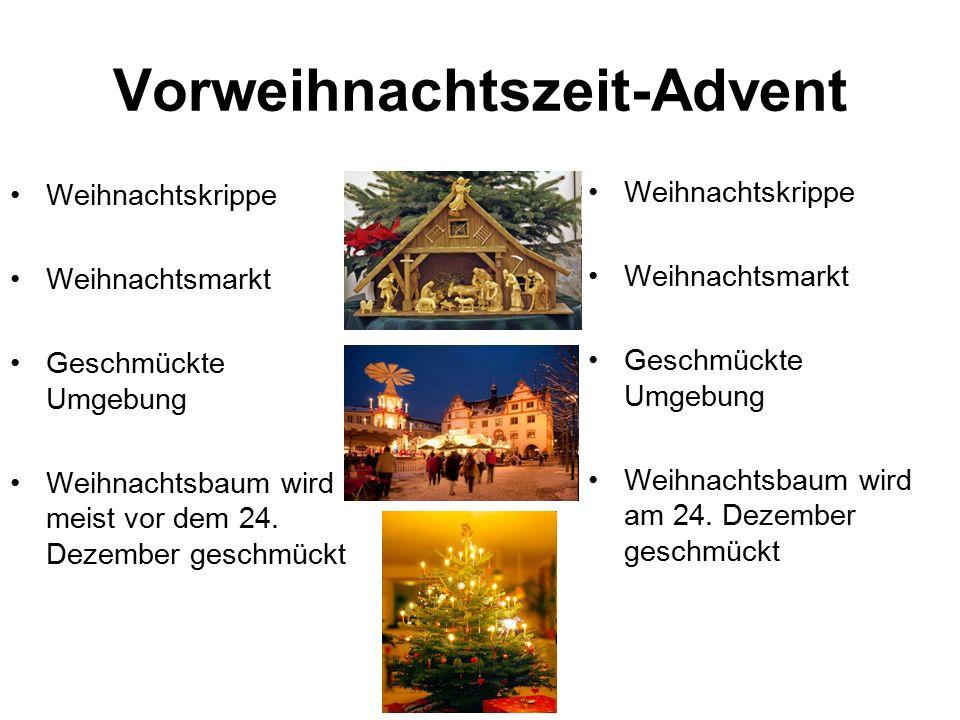 Heiliger Abend (Deutschland) fast alle gehen in den Gottesdienst Feiert man mit Familie und Verwandtschaft Besonderes Essen (Gans, Braten, Fondue etc.
